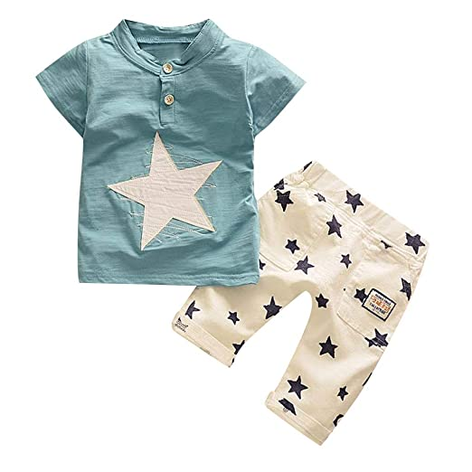 55db5468a 2019 Baby Boys Short Sleeve Outfits, Kids Button-Down Star Cartoon Printed  Tracksuit Set