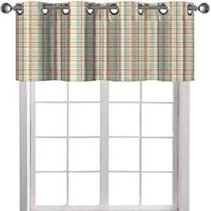 Plaid Blackout Valance Curtain, Scottish Country Style Tartan with Abstract Design Diagonal Striped Lines, Window Treatment Valance for Living Room, 52