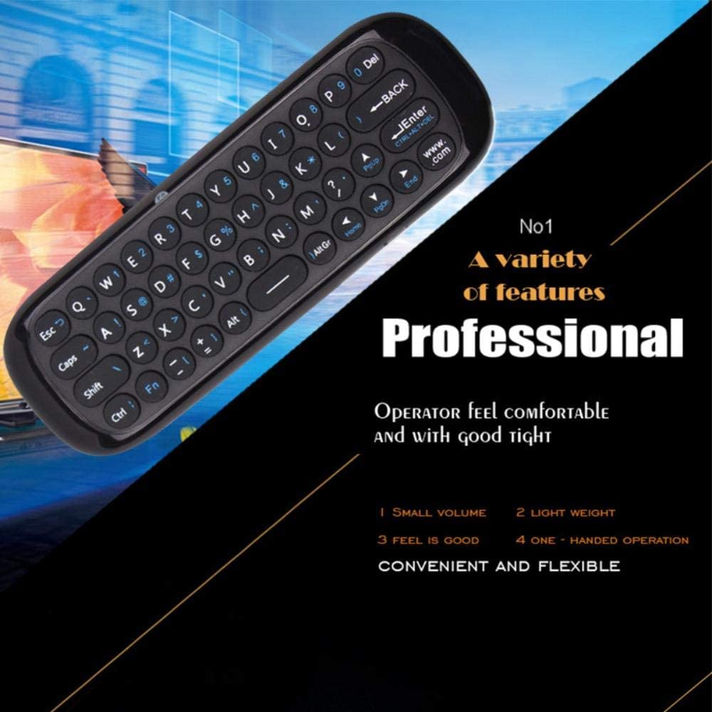 Color: Black Calvas Original Brand W1 2.4GHZ Mini Air Mouse Rechargeable English Wireless Keyboard Remote Control for Windows Android TV Box PC