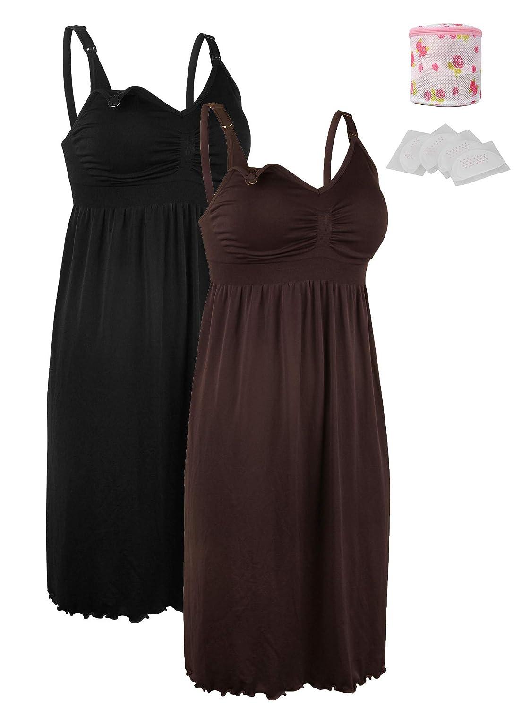 iLoveSIA Women's Seamless Maternity Nursing Dress Built in Bra Nightdress Breastfeeding Size S M L XL 2XL 3XL S30716096S