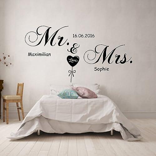 Wandtattoo Spruch MR.& MRS. personalisiert mit Wunschnamen und ...