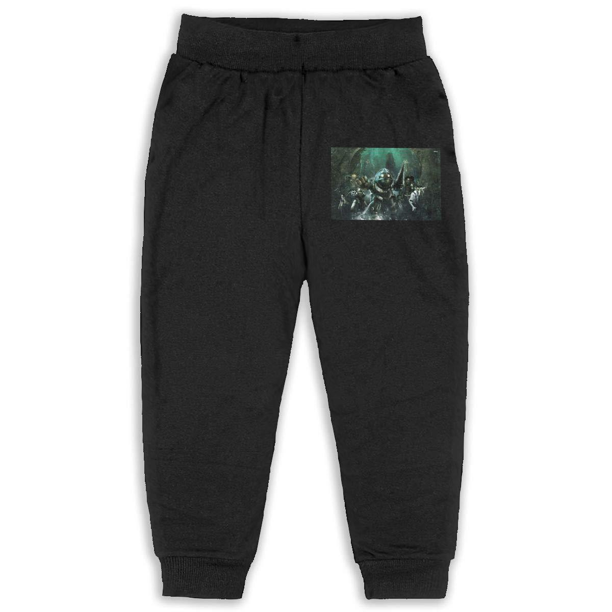 Pleasantly Bioshock Wallpaper Long Pants Sweatpants for Unisex Childrens Casual Trousers Black