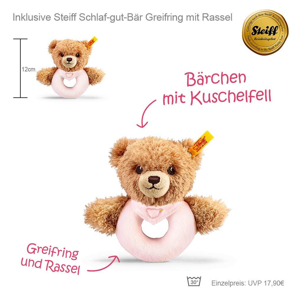 Timfanie/® Windeltorte 2 Steiff B/ärchen Rassel mit Gravur   Windeln Gr 2-st/öckig rosa-punkt