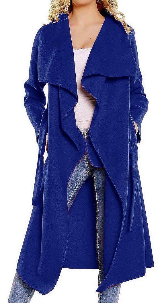 Kearia Womens Elegant Long Sleeves Duster Cape Belted Waterfall Long Trench Coat Jacket