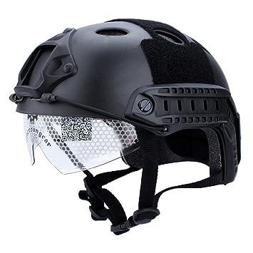 Zerone Casco Tactico, Protección Táctica Militar del Paintball del Airsoft Casco Rápido y Gafas (
