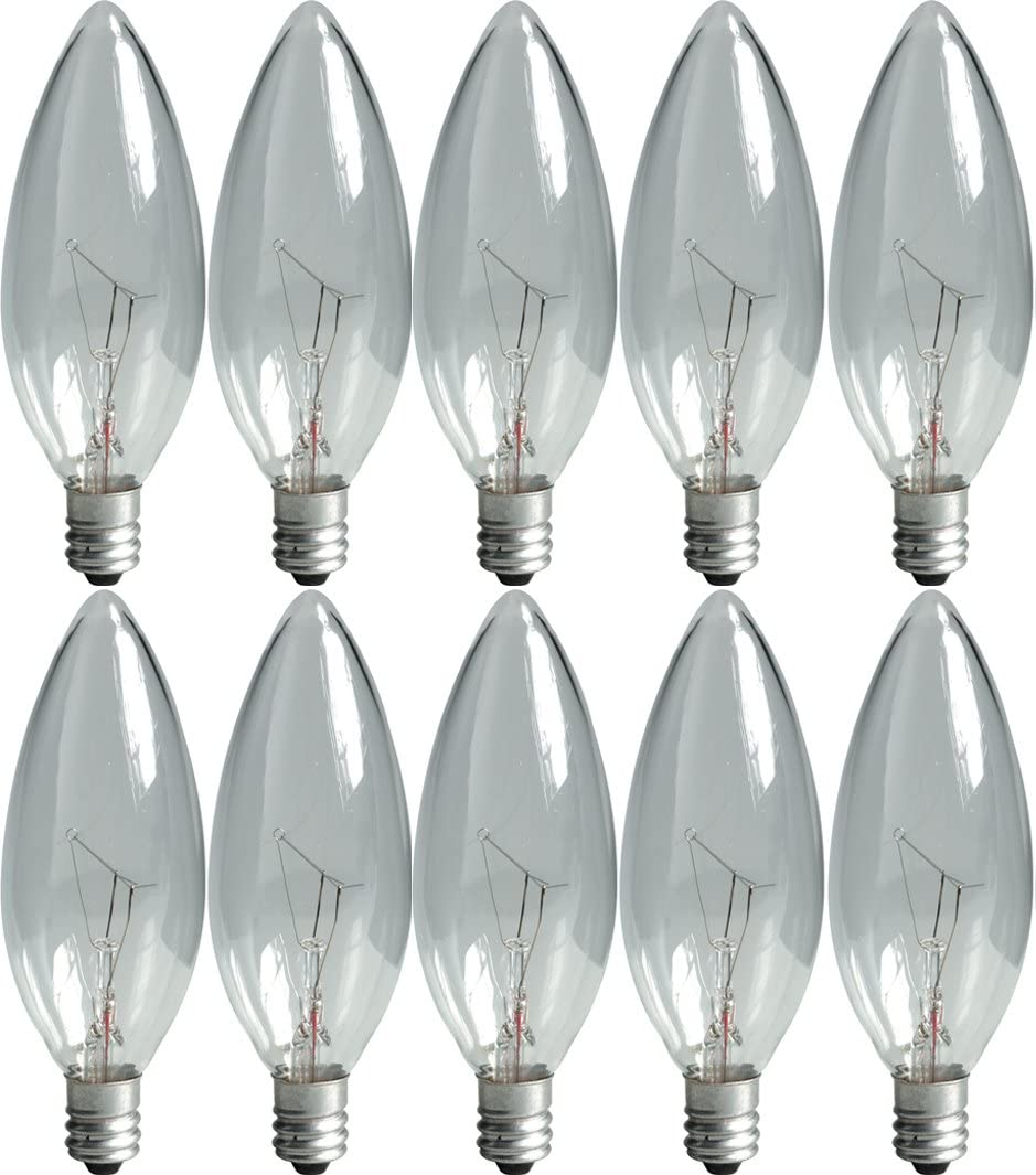 GE Lighting 75257 Crystal Clear 15-Watt, 105-Lumen Blunt Tip Light Bulb with Candelabra Base, 10-Pack