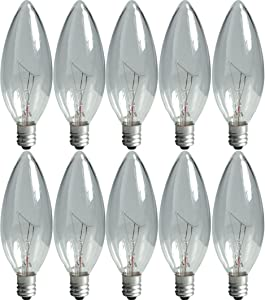 GE Lighting Crystal Clear 75033 40-Watt, 280-Lumen Blunt Tip Light Bulb with Candelabra Base, 10-Pack