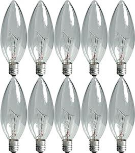 GE Lighting Crystal Clear 75033 40-Watt, 280-Lumen Blunt Tip Light Bulb with Candelabra Base, 10-Pack