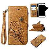 Black Friday Deals 2017 iPhone 6s Plus Leater Wallet Case,Valentoria 2 in 1 Vintage Flower Book in Italian Style 3 Card Holder Cash Slot KickStand Function Slim Lightweight Case Cover (Khaki)