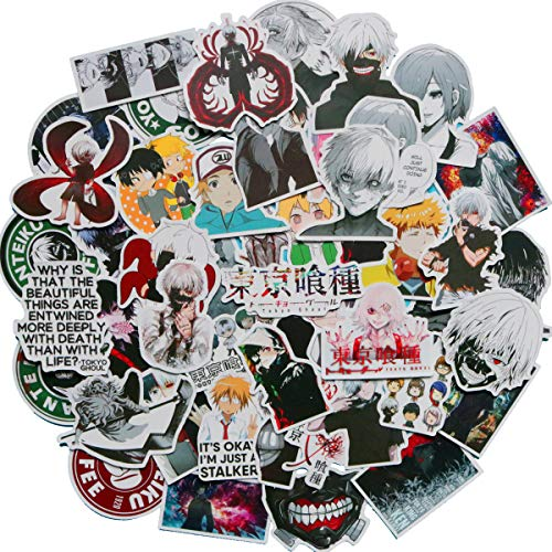 Tokyo Ghoul Sticker Pack of 50 Stickers - Waterproof Durable Stickers Classic Japanese Anime Stickers for Water Bottles Computers Laptops (Tokyo Ghoul)