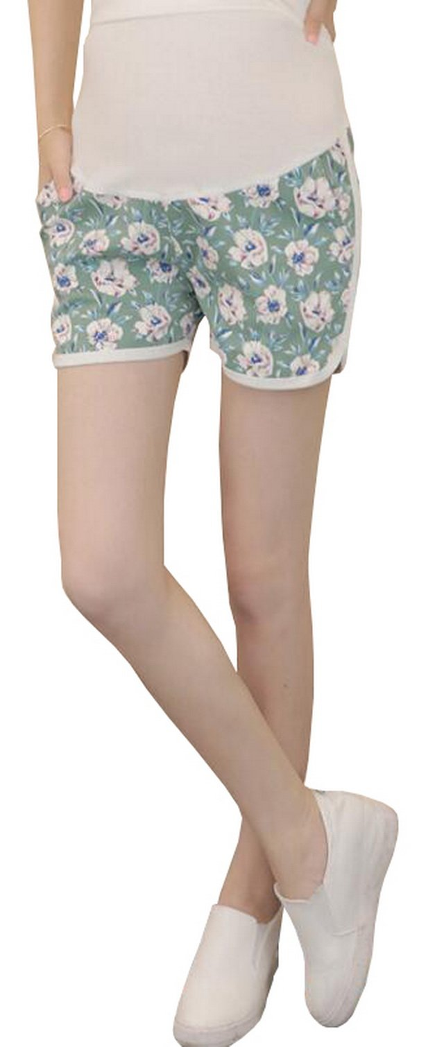 Foucome Women's Summer Thin Floral Print Maternity Shorts Fit Belly with Cargo Pockets