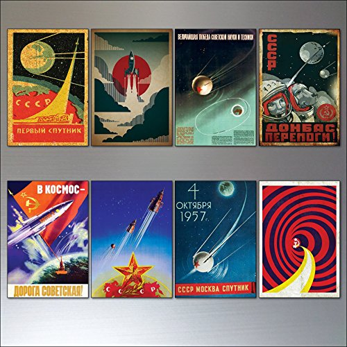Vintage Sputnik Atomic soviet space race poster fridge magnets set of 8
