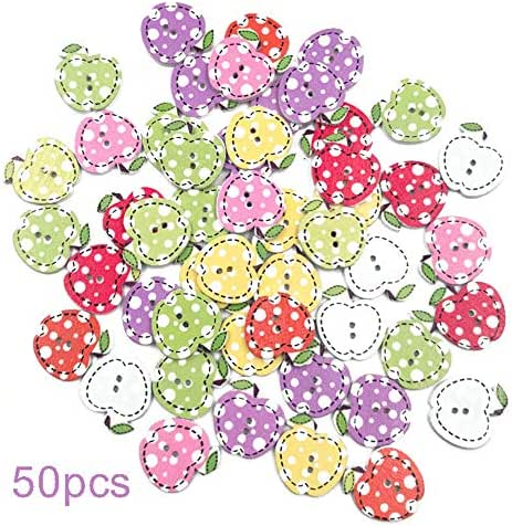 Anniston Art & Craft Sewing Set, 50Pcs Mini Apple Fruit Wooden Buttons Sewing Scrapbook Cards Art Craft DIY Decor Sewing Supplies for DIY Beginners Adult Kids Teens Girls, Random Color