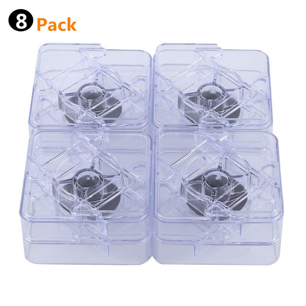 uyoyous Non-Slip Furniture Riser Adjustable Bed Table Sofa Lift Risers 8 Pack 4'' W x 4'' D, 1-2'' Height Improvement Clear