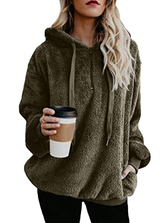3e2ca65cde39 Menglihua Women s Fuzzy Sherpa Fleece Hoodie - (S-5XL) 1 4 Zip ...