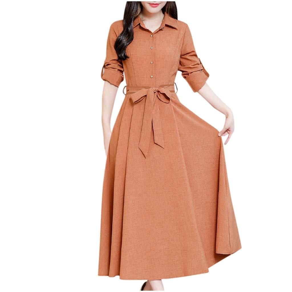 Wenini Women's Elegant Vintage Boho Long Sleeve Lapel Button Down Casual Maxi Dress with Belt by Wenini