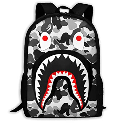 DISINIBITA Bape Blood Shark Backpack Teenagers Student School Bag Children Fashion Book Bag For Boys/Girls Black: Clothing