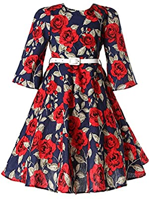 Bonny Billy Girls Classy Vintage Floral Swing Kids Party Dresses
