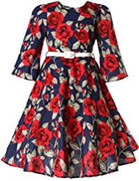 Girls Classy Vintage Floral Swing Kids Party Dress With Belt