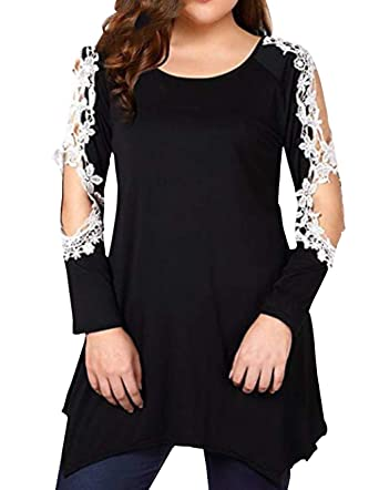 ca91becf2 Women Tunic Tops Cold Shoulder Long Sleeve Blouses Ladies Jumpers Plus Size  Irregular Hem Hollow Out Patchwork Tunics Oversized Pullover Swing Shirts  ...