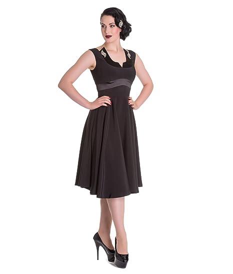 Hell Bunny Valetta Evening Party Cocktail Dress Black - UK 8 (XS)
