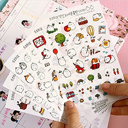 uhoMEy 6 Sheets PVC Cute Rabbit Cartoon Albums Diary Stickers for Journal  Notebook Decoration Scrapbooking