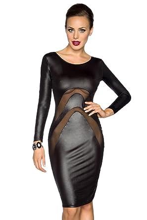 Amynetti Sexy Damen Kleid Cocktailkleid Partykleid Knielang Langarm ...