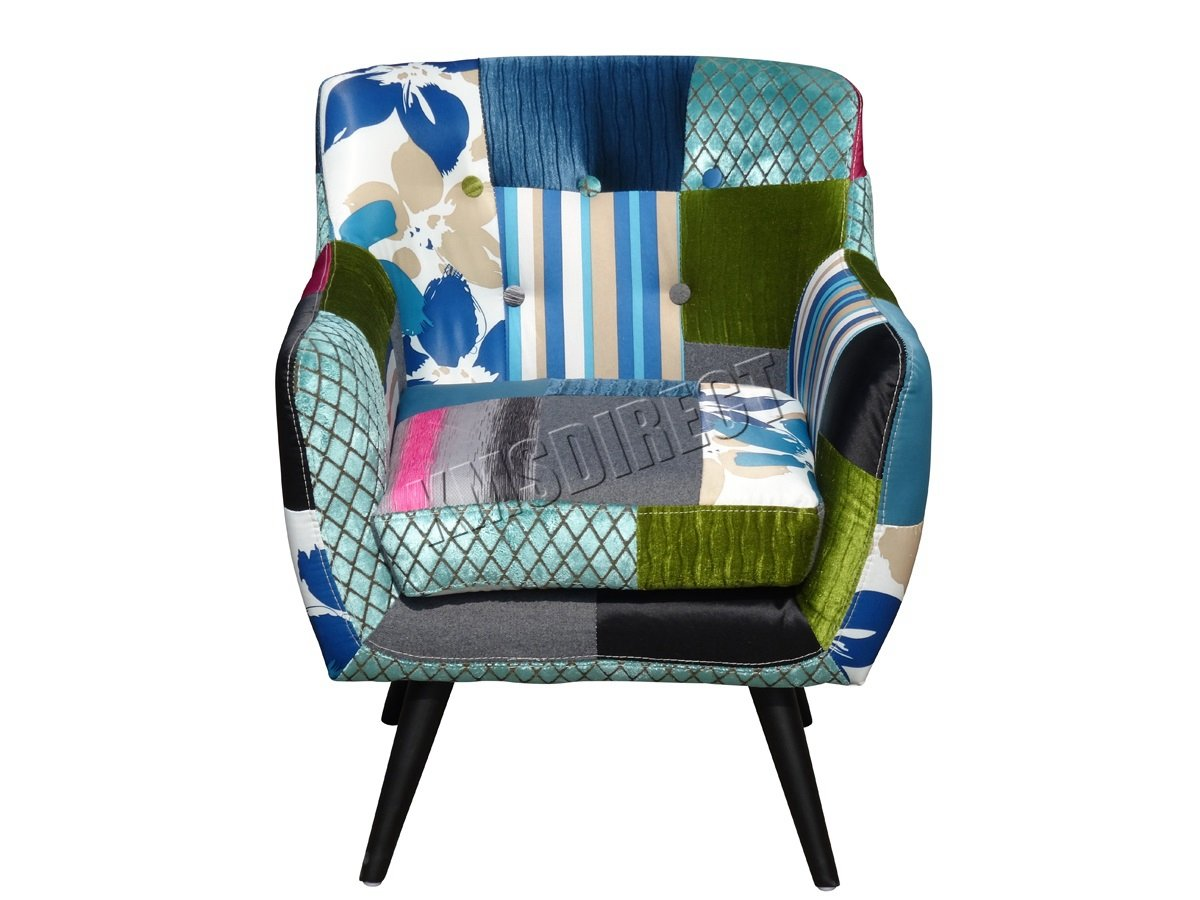 WestWood FoxHunter Patchwork Chair Fabric Vintage Tub Armchair Seat Dining  Room Living Bedroom Office Furniture PC029: Amazon.co.uk: Kitchen U0026 Home