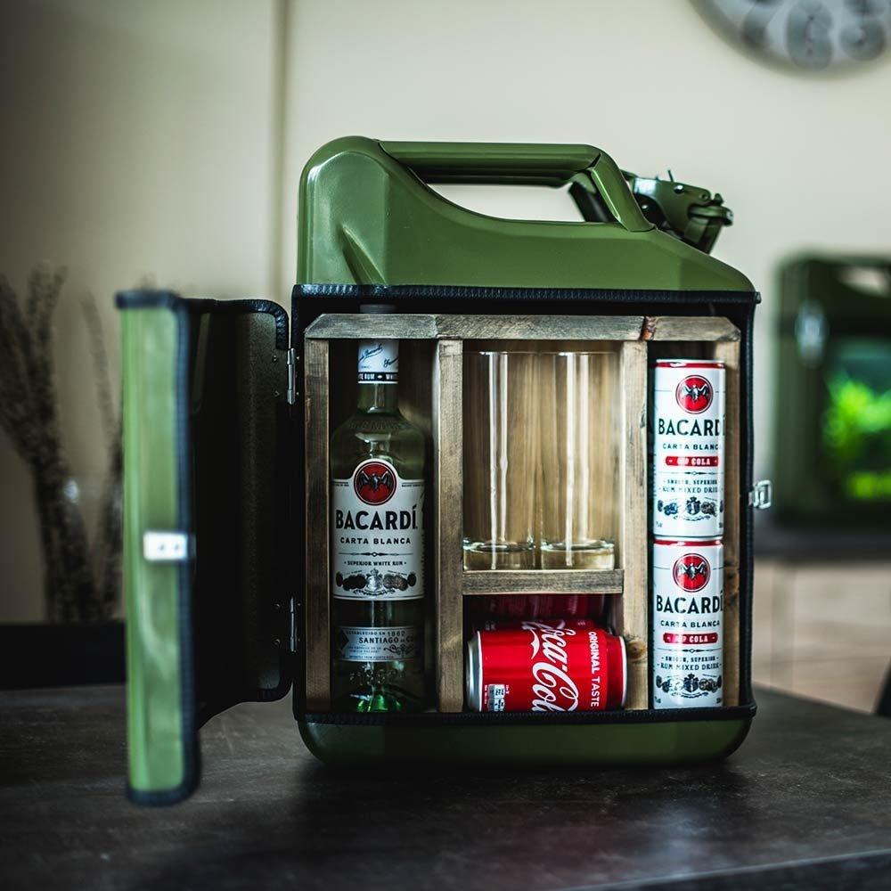 Geschenkbox Jerry Can Bidó n Mobile de Bar Bar Armario con 2 Vasos, Aprox. 45 x 35 x 18 cm Aprox. 45x 35x 18cm Geschenkbox GmbH