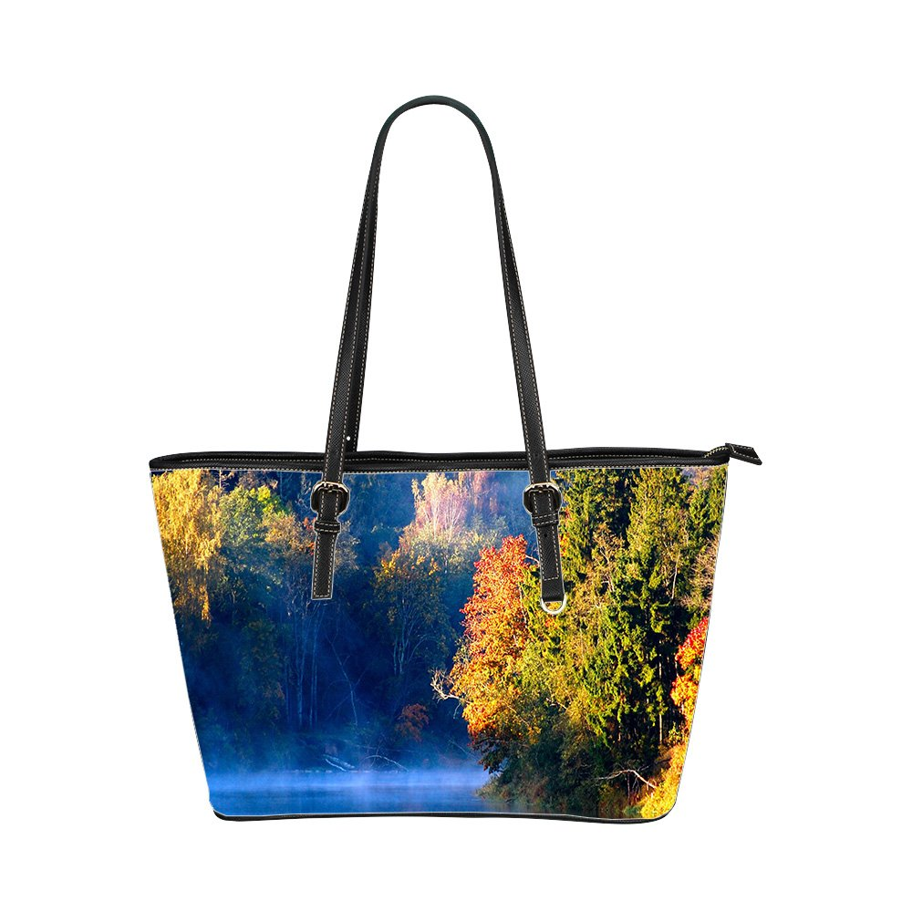 Amazon.com: Autumn Custom Interest Print Leather Tote Bag ...