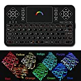 Mini Wireless Keyboard,Q9 Mini Keyboard with Touchpad,Colorful Backlit Small Wireless Keyboard,Mini Rechargeable Handheld Remote Keyboard for PC,Raspberry Pi 4, Android TV Box,KODI,Windows 7 8 10