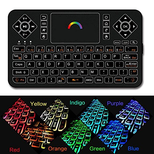 Dupad story Q9 2.4GHz Mini Wireless Keyboard with Touchpad Mouse Combo,USB Rechargeable,Colorful Backlit,Multi-Media Handheld Remote for Windows PC, HTPC, IPTV, Raspberry Pi, 360, PS3, PS4