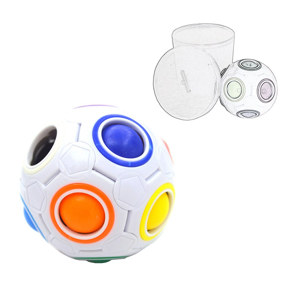 I-xun Rainbow Ball Puzzle Cube Magic Ball Cube Speed Fidget Ball Cube (Diameter 25.6 Inches)