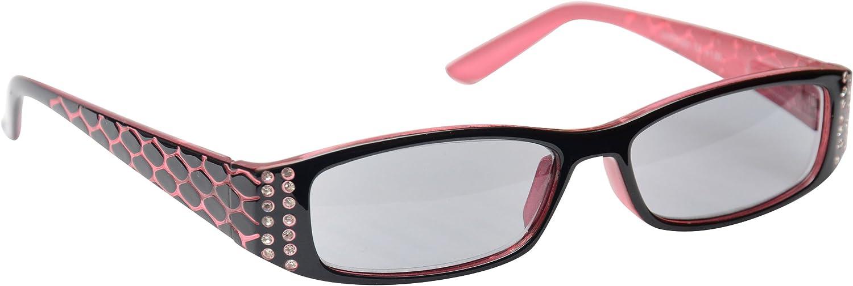 LADIES BLACK BIFOCAL SUNGLASSES READING GLASSES SUNREADERS 100/% UV SPRING HINGES Strength 3.25