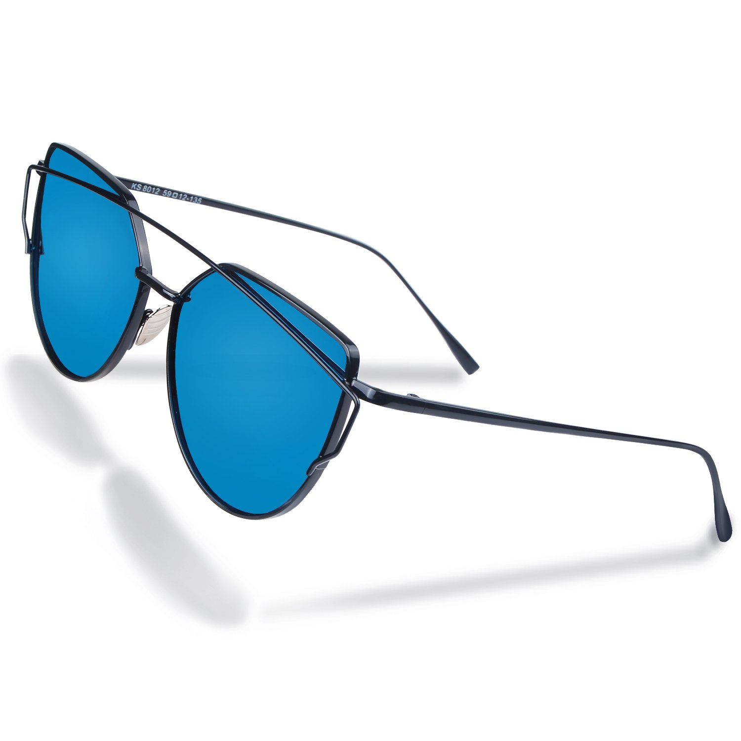 5a77c421f9e Amazon.com  MAOVI Women Sunglasses Cat Eye Mirrored Polarized Glasses  Lenses Fashion Metal Frame Goggles UV400  Clothing