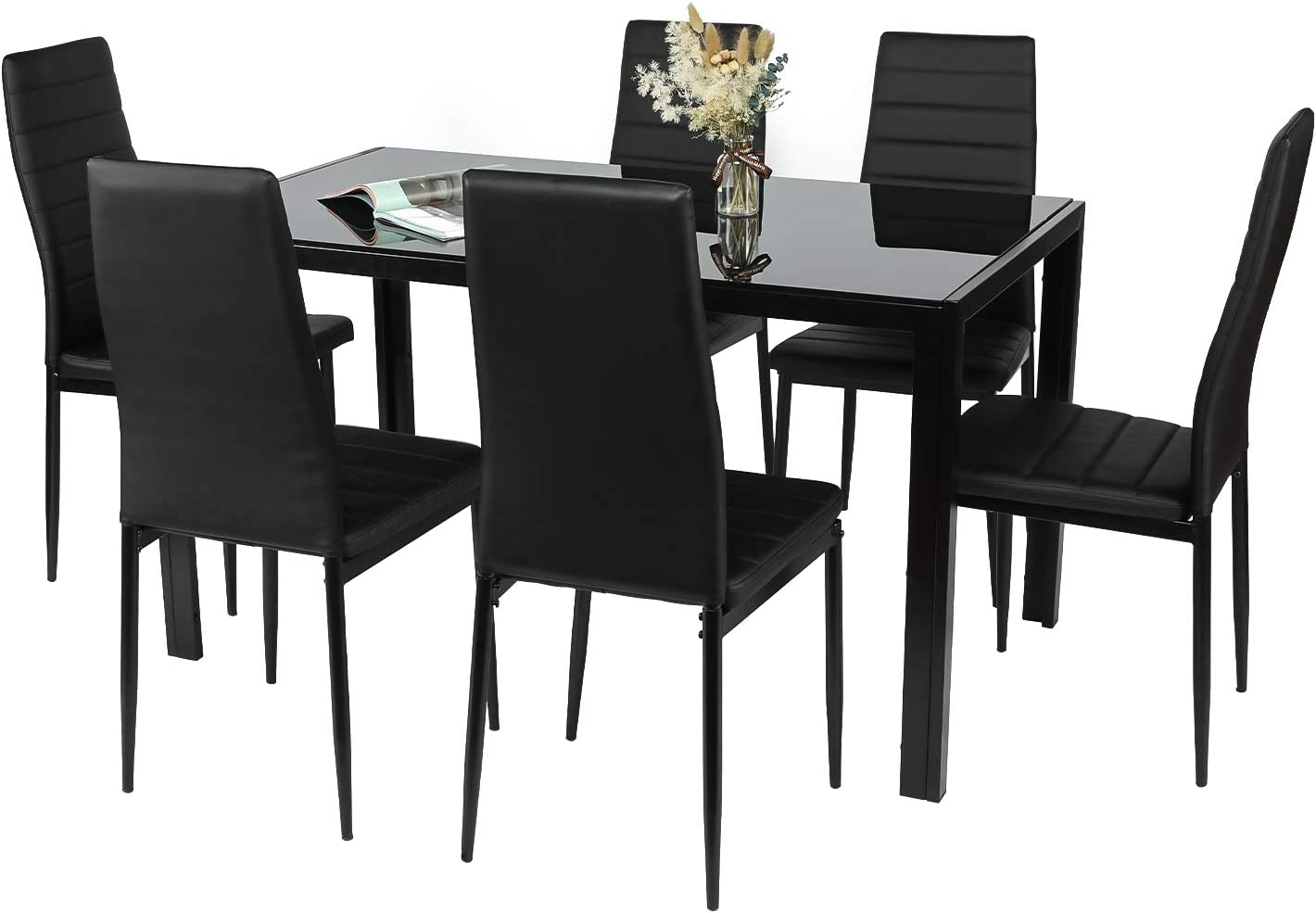 Amazon Com Bahom 7 Piece Kitchen Dining Table Set For 6 Glass Dining Table And 6 Chairs Pu Leather For Breakfast 2 Boxes Table Chair Sets
