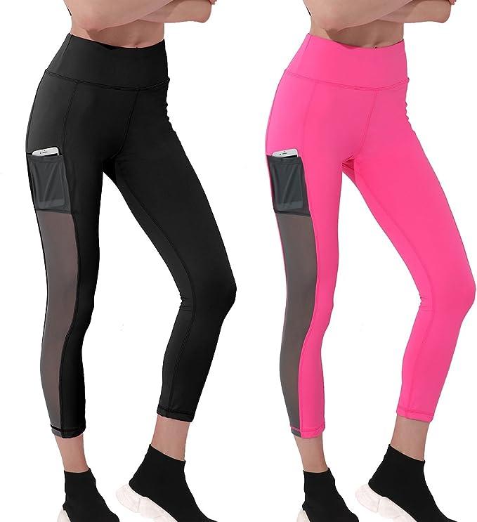 Wantdo Women Stretchy Yoga Pants Tummy Control Soild Sport Leggings with Pockets