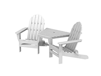 Recycled Earth-Friendly Outdoor Double Adirondack Chair \u0026 Table Set - White  sc 1 st  Amazon.com & Amazon.com : Recycled Earth-Friendly Outdoor Double Adirondack Chair ...
