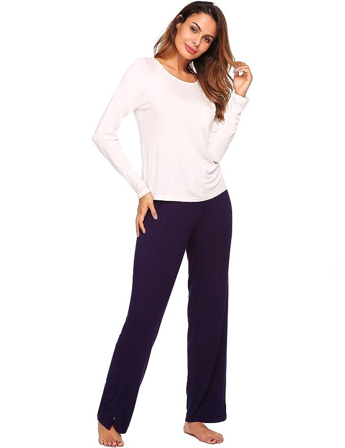 fd3875d00b Pyjamahosen Damen Nachtwäsche Pyjama Lang Freizeithosen Jerseyhose  Schlafanzughose Shorty Damen Kurz Zweiteiliger Schlafanzug: Amazon.de:  Bekleidung
