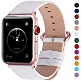 Fullmosa Compatible with Apple Watch Band 38mm 40mm 42mm 44mm, Yan Series Lichi Calf Leather Strap Band Compatible with iWatch Series 5 4 3 2 1, 38mm 40mm White + Rose Gold Buckle