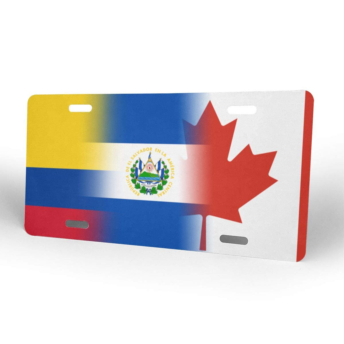 Canada Colombia and El Salvador Art Flag Metal License Plate Vanity Car Plate 6 X 12