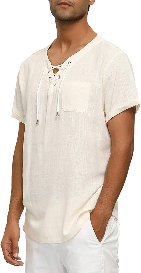 1930s Mens Shirts | Dress Shirts, Polo Shirts, Work Shirts Mens Short Sleeve Linen Shirt V-Neck Pullover T-Shirts Yoga Top Hippie Shirts $9.99 AT vintagedancer.com