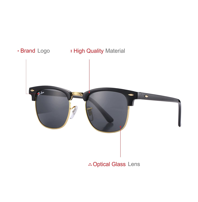 94e04338c0 Amazon.com  Pro Acme PA3016 Classic Crystal Lens Semi Rimless Sunglasses  for Men Women (Black Frame Black Lens)  Clothing