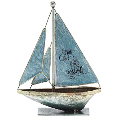 With God All Things Possible Matthew 19:26 6 x 5 Metal Table Top Sailboat Figurine Decoration