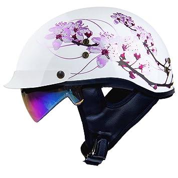 Amazoncom Voss 888frp Gloss White Sakura Pink Ribbon Half Helmet