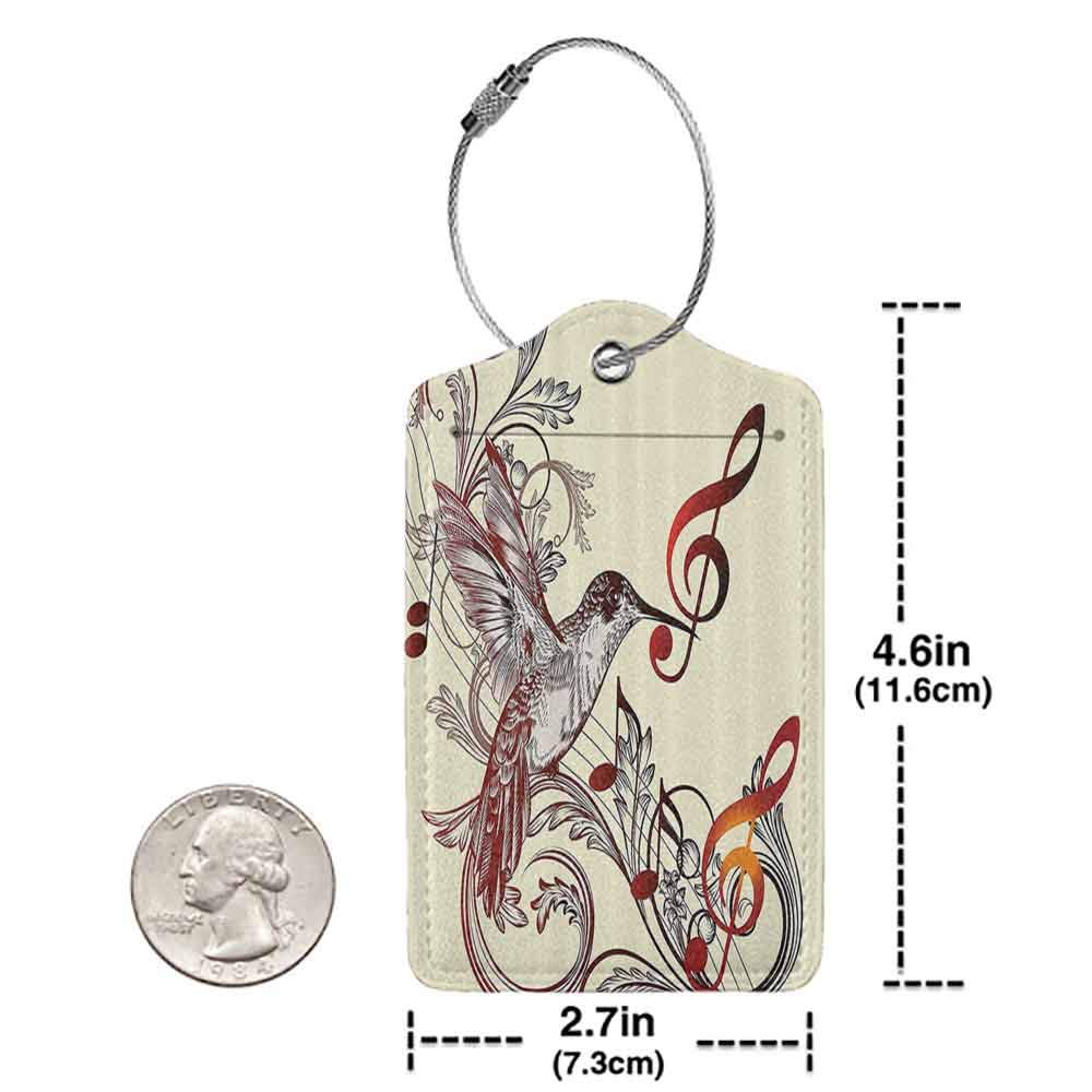 Durable luggage tag Hummingbirds Decorations Collection Flying Bird and Music Notes Clef Five Line Staff Musical Creative Image Unisex Burgundy Cream W2.7 x L4.6