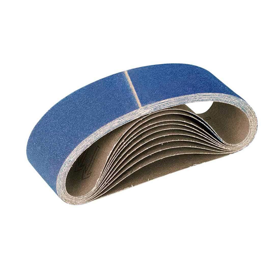 10 MioTools Sanding Belts for Hand Belt Sanders 303 x 40 mm Grit 80