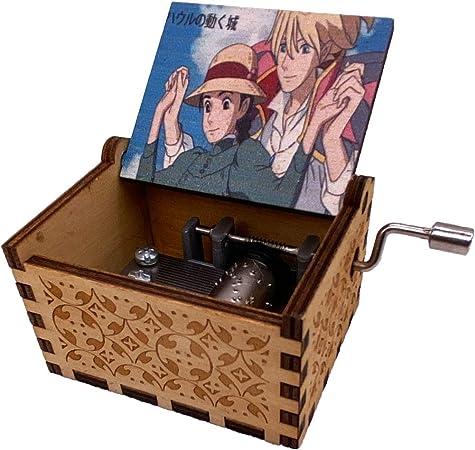 Caja de música Howls Moving Castle caja musical de madera grabada caja de regalo de manivela para Navidad, cumpleaños, día de San Valentín, paseo aéreo (cierre de tiro): Amazon.es: Hogar
