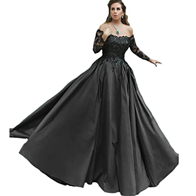 Fair Lady Gorgeous 2018 New Ball Gown Evening Dresses Black Appliques Long  Sleeves Formal Prom Dress dfe8a8778b8f