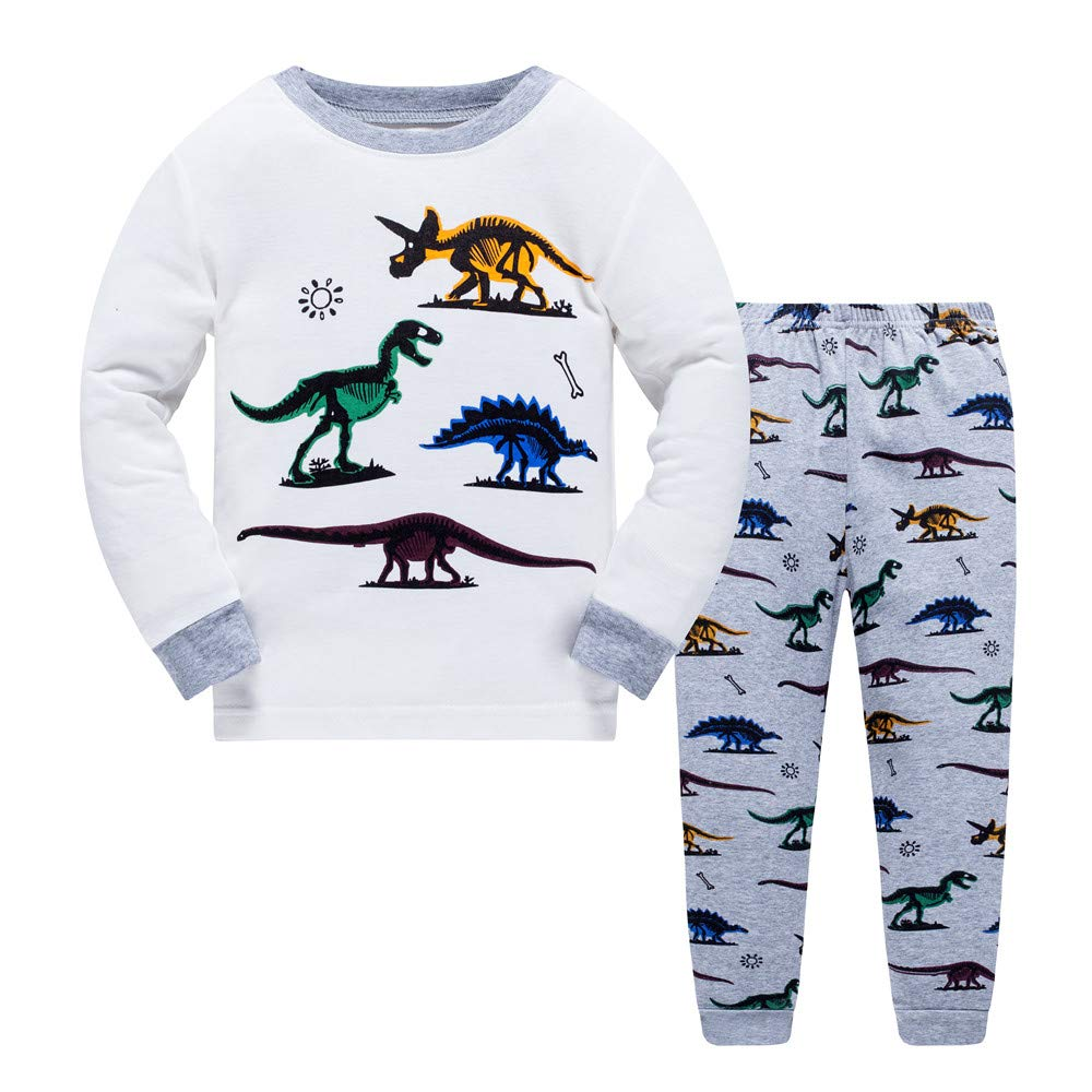 LitBud Toddler Boys Pyjamas for Toddler Kids Dinosaur Long Nightwear Sleepwear Pjs Set Sleepsuit Size 4-5 Years 5T